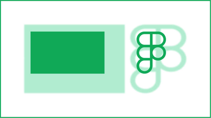 A rectangle and a partially-transparent Figma logo, with scaled-up drop shadows.
