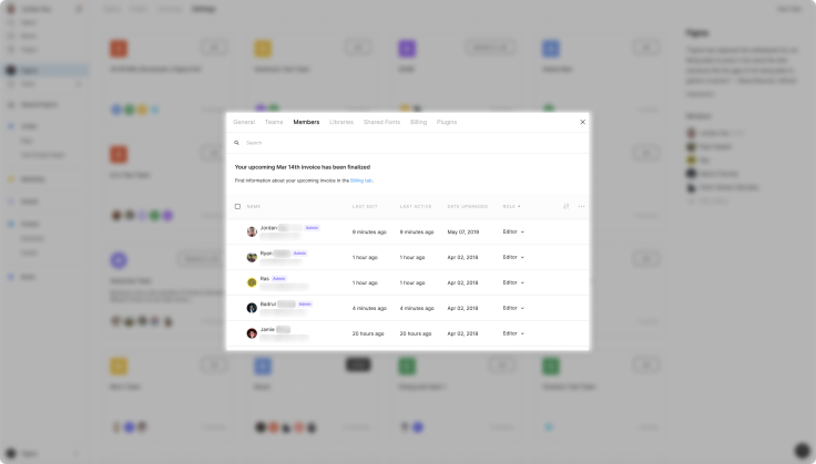 A limited list of current Figma members in a small, white pop-up modal