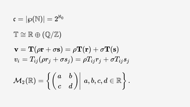An example of a few math equations using differently looking alphabets.