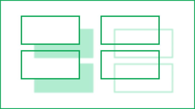 Left: two transparent rectangles with opaque strokes, with filled drop shadows occluded by their own shapes but not by other transparent shapes. Right: two transparent rectangles with opaque strokes, with drop shadows of only the strokes.
