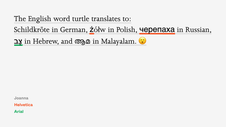 An example of an English sentence also containing words in German, Polish, Russian, Hebrew, Malayalam, and an emoji. Some of the characters look differently.