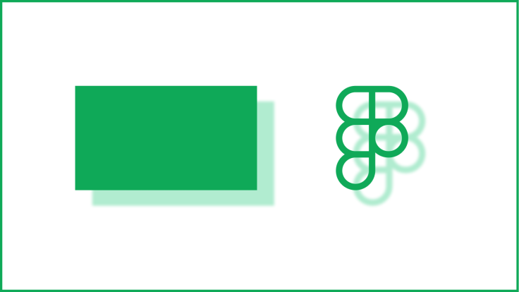A rectangle and a partially-transparent Figma logo, with simple drop shadows.
