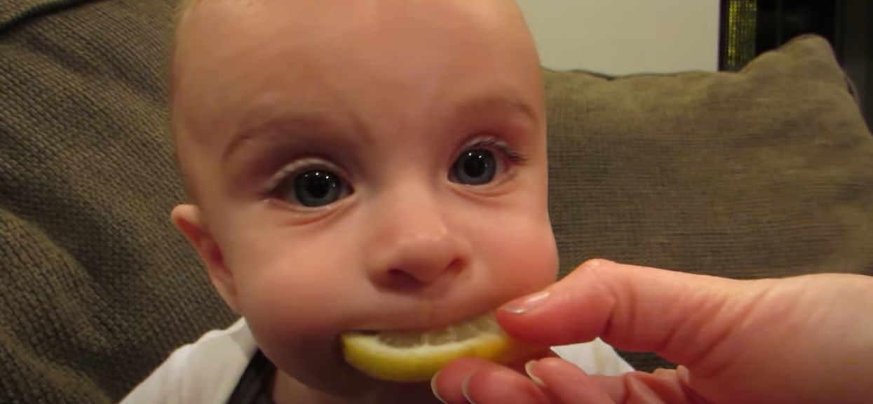 Dziecko próbuje cytryny