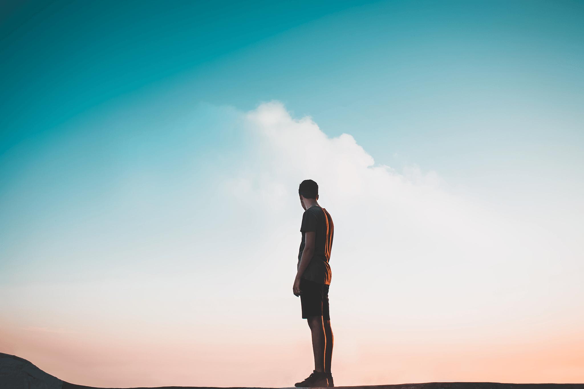 Man staring at sky