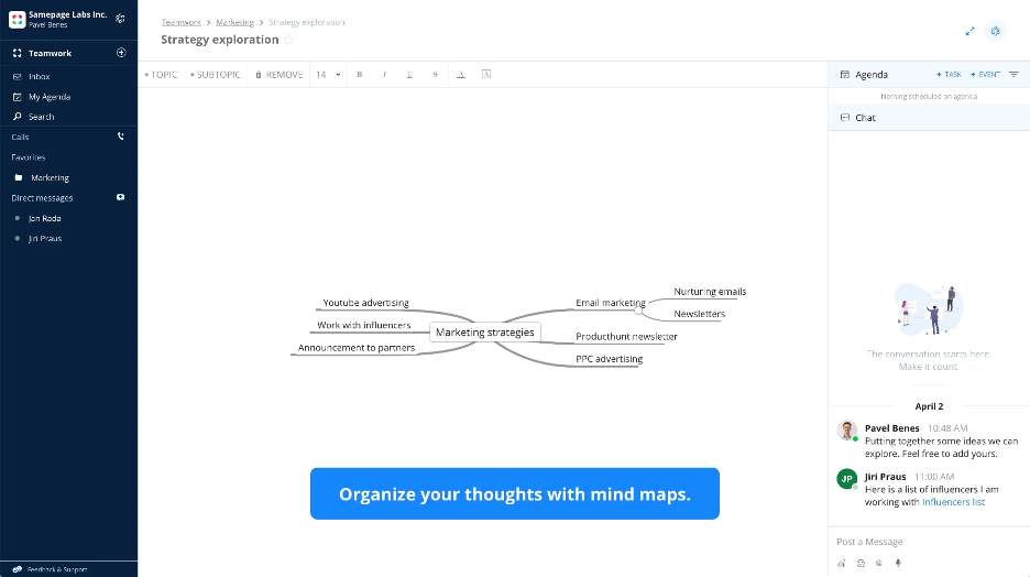Coworkers brainstorm together with a mind map created in Samepage