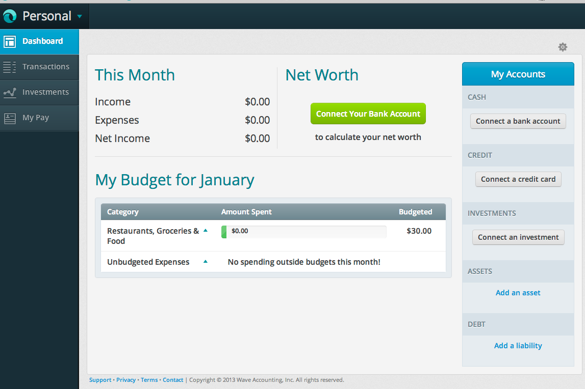 Dashboard view with income and expenses in Wave