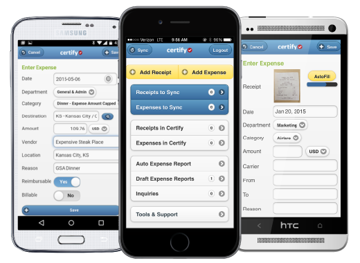 Filing expenses on the go with Certify Expense mobile app