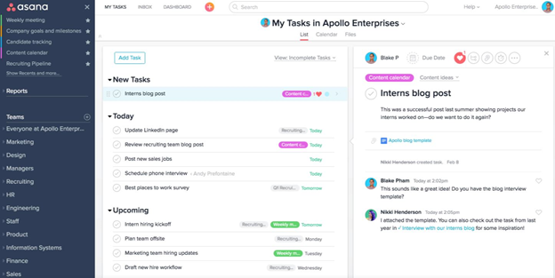 Asana to-do list to manage workload screenshot