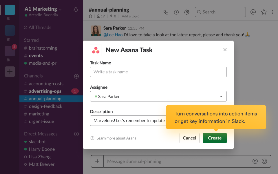 Creating and assigning tasks in Slack