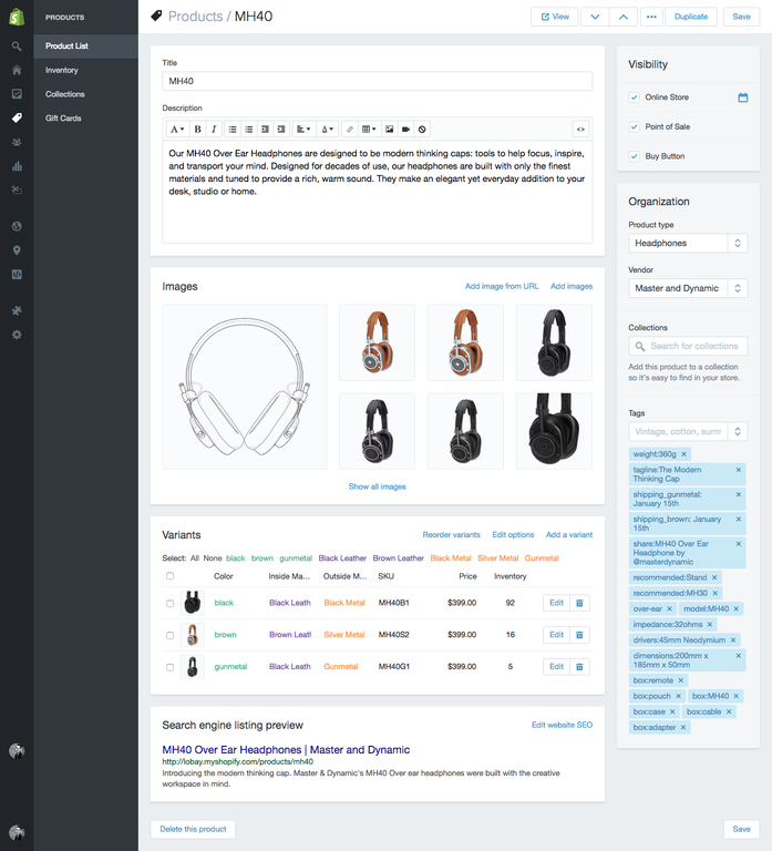 Backend of the product page in Shopify