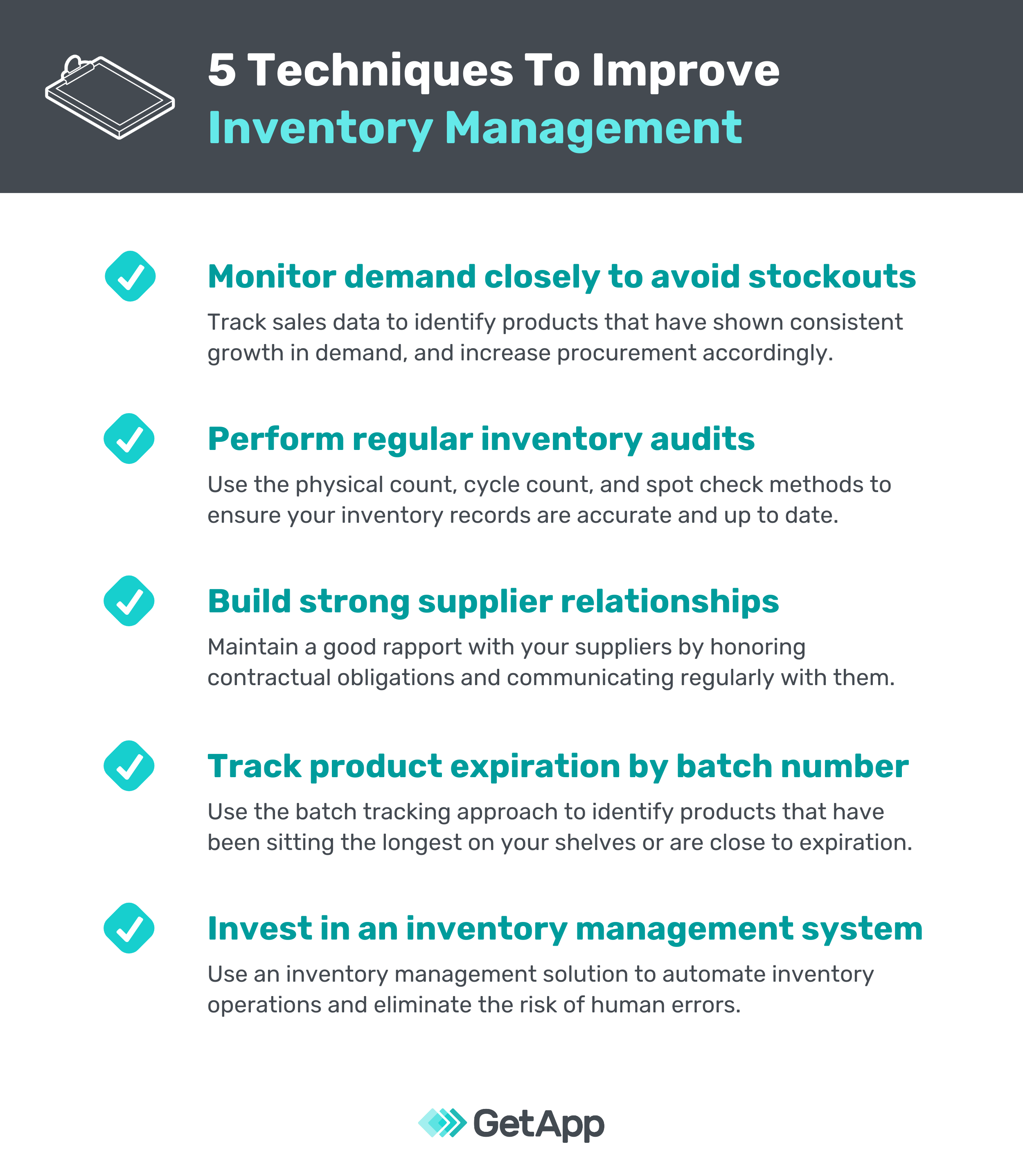 chart listing five ways to improve inventory management