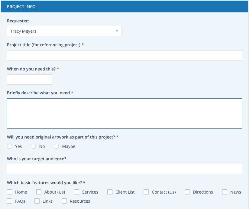 Project request forms in Workzone