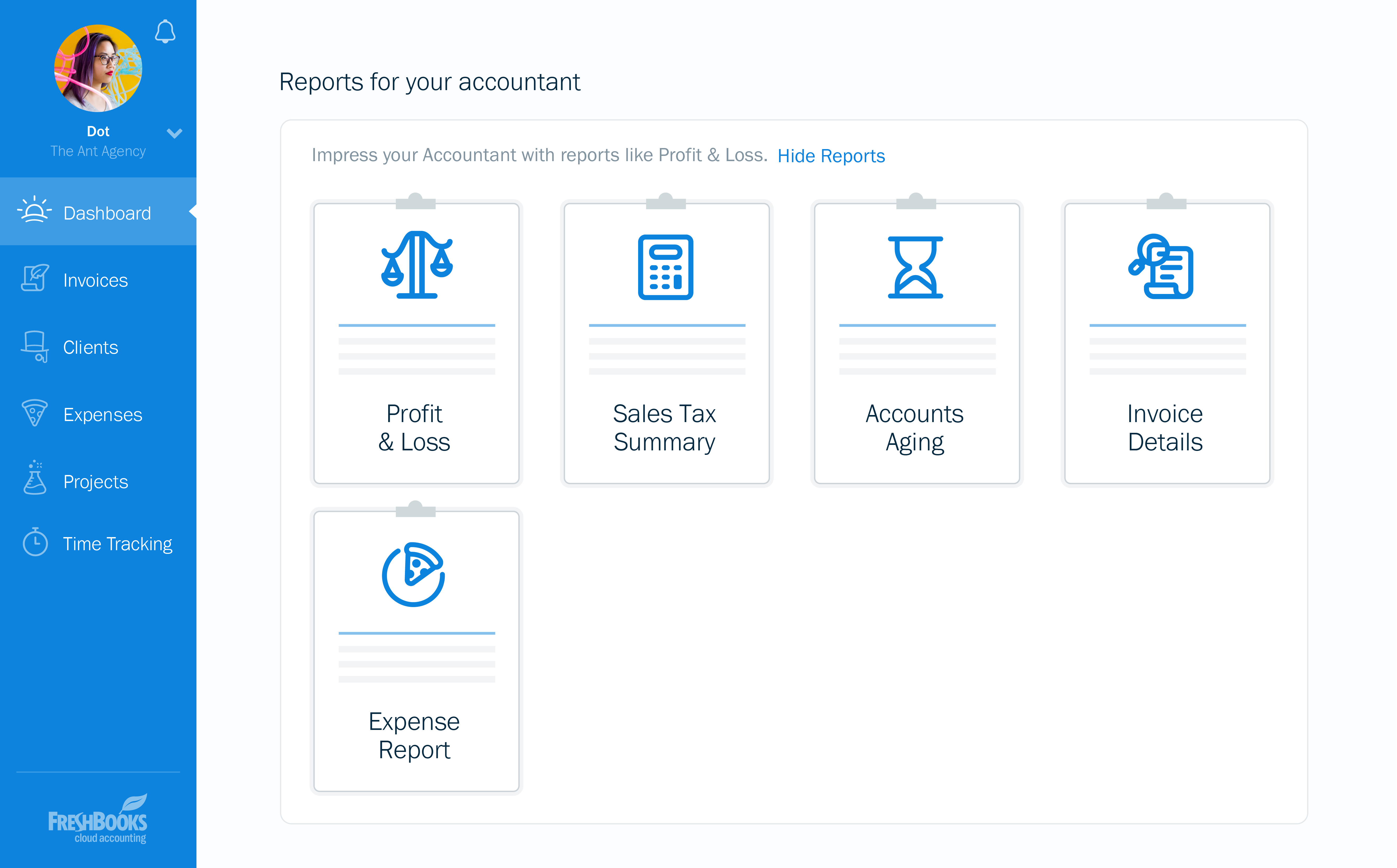 FreshBooks different types of reports dashboard screenshot