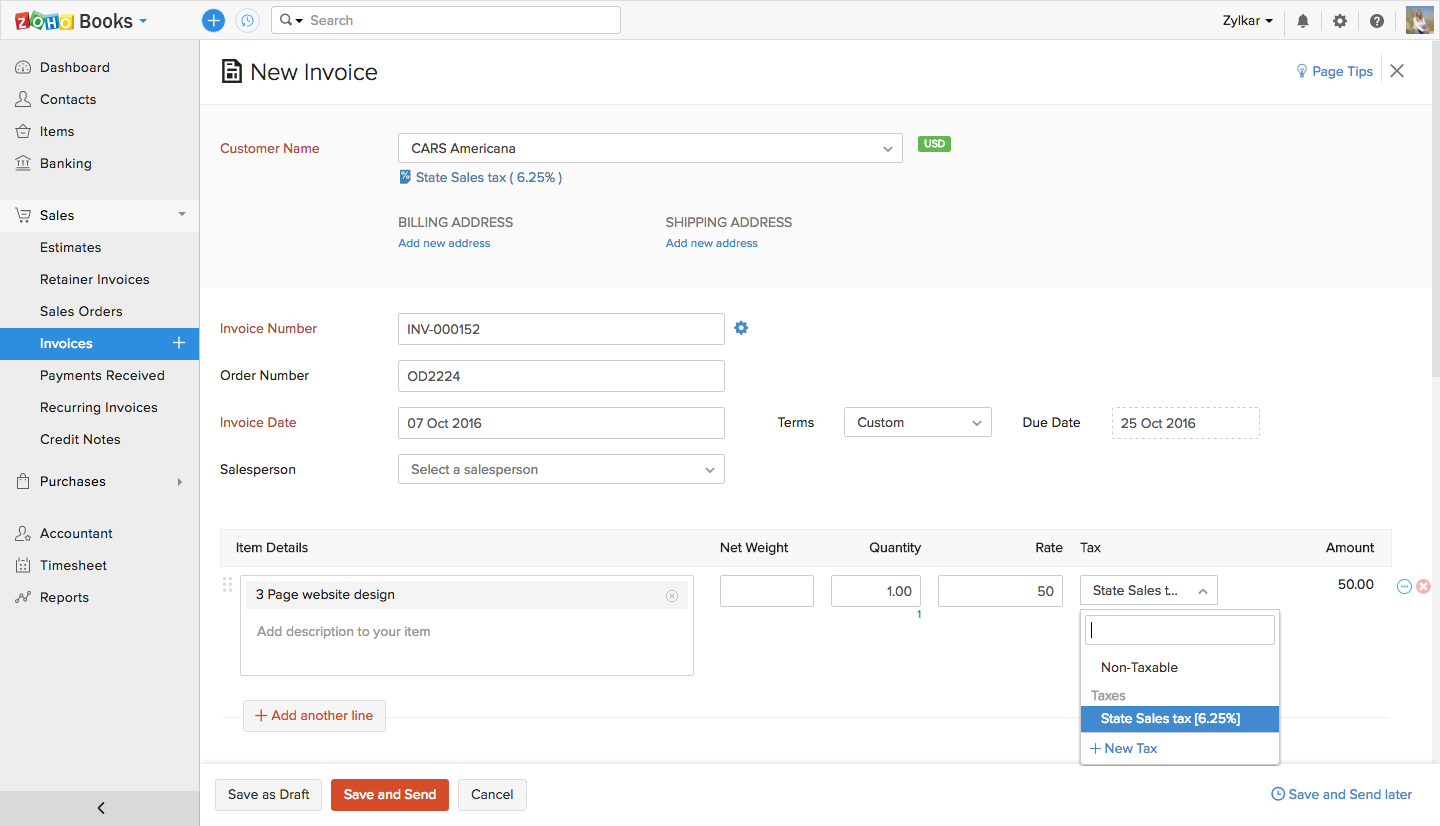 Creating an invoice in Zoho Books