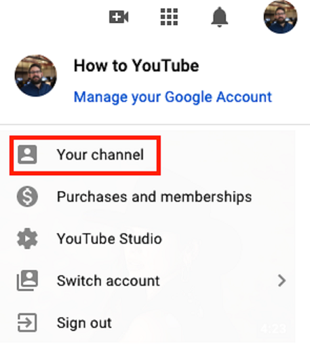 Opening your YouTube channel from the YouTube homepage