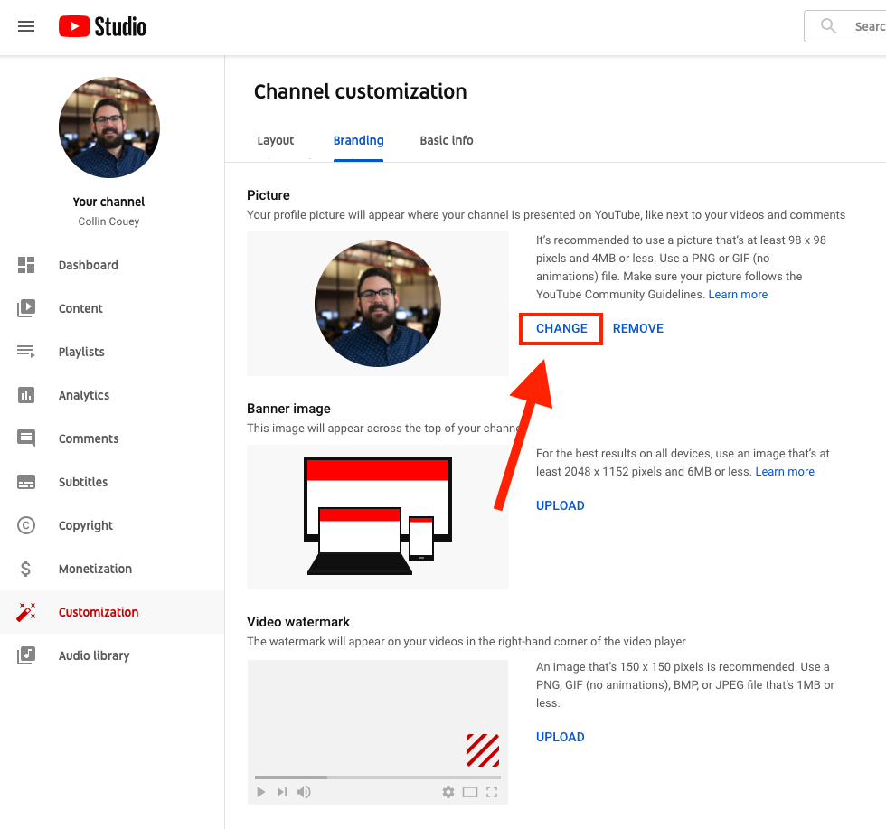 A screenshot of how to change your YouTube channel picture