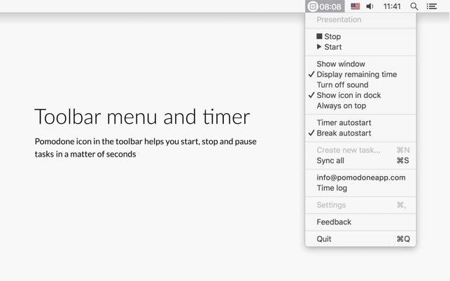 PomoDone toolbar on Mac computers