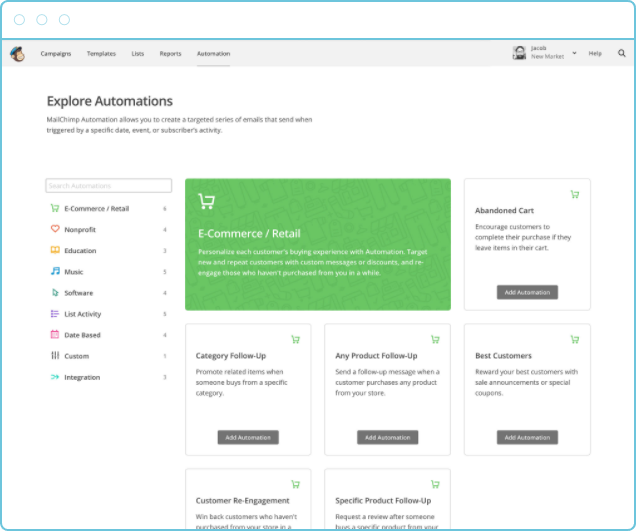 screenshot of the automations menu within mailchimp software