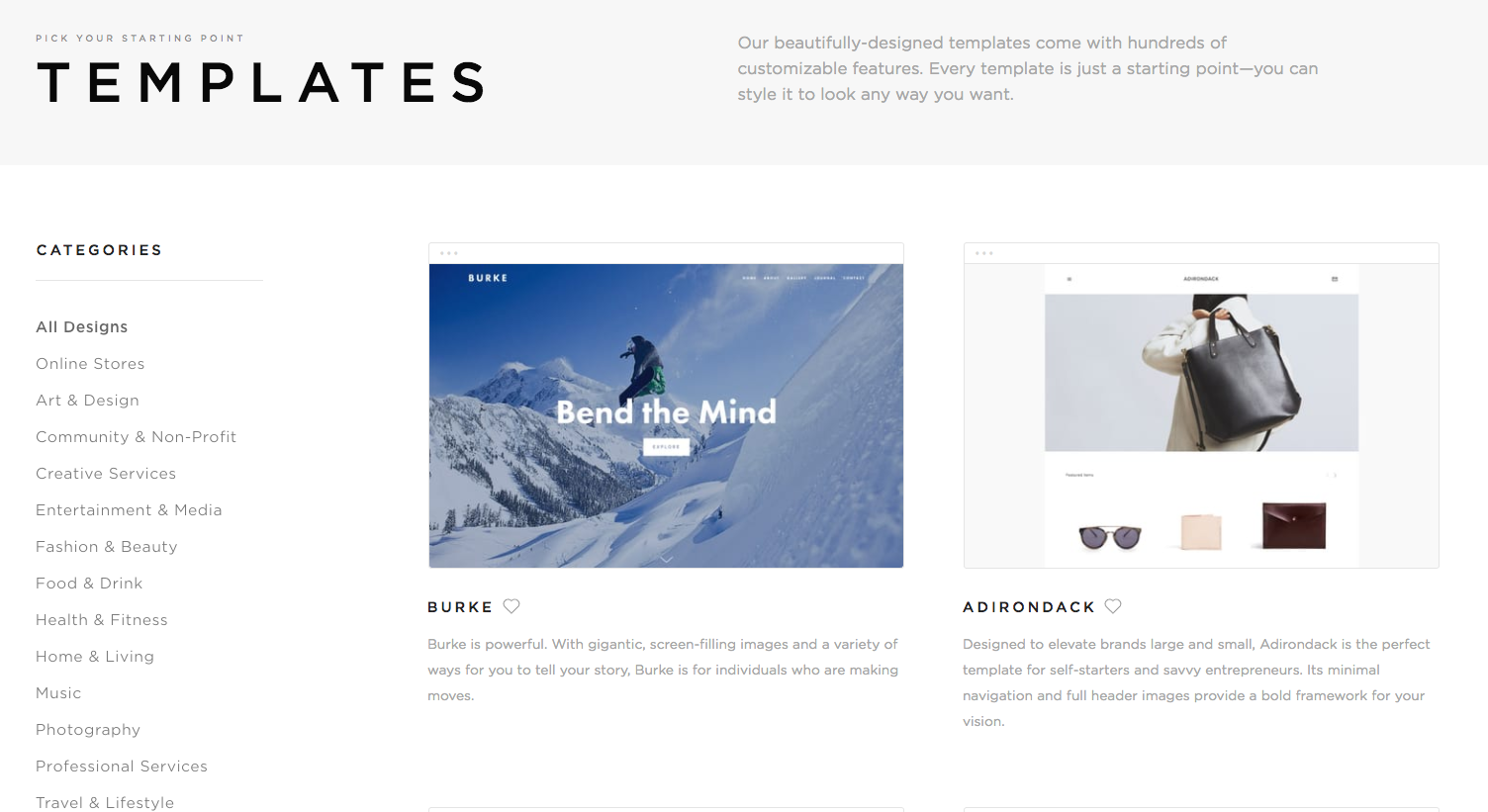 Templates available on Squarespace screenshot