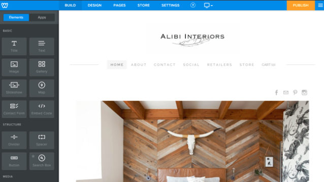 Design interface on Weebly screenshot