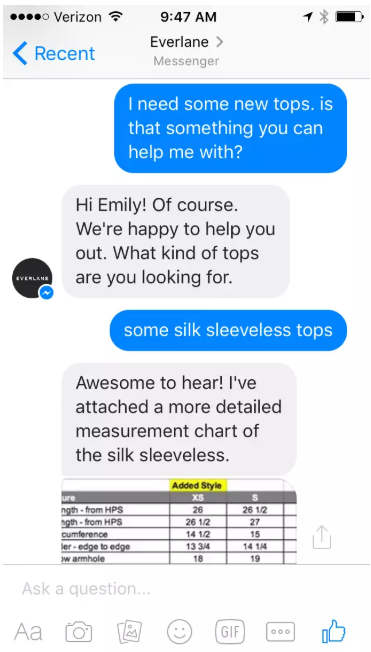 Chatting with a customer on Facebook Messenger