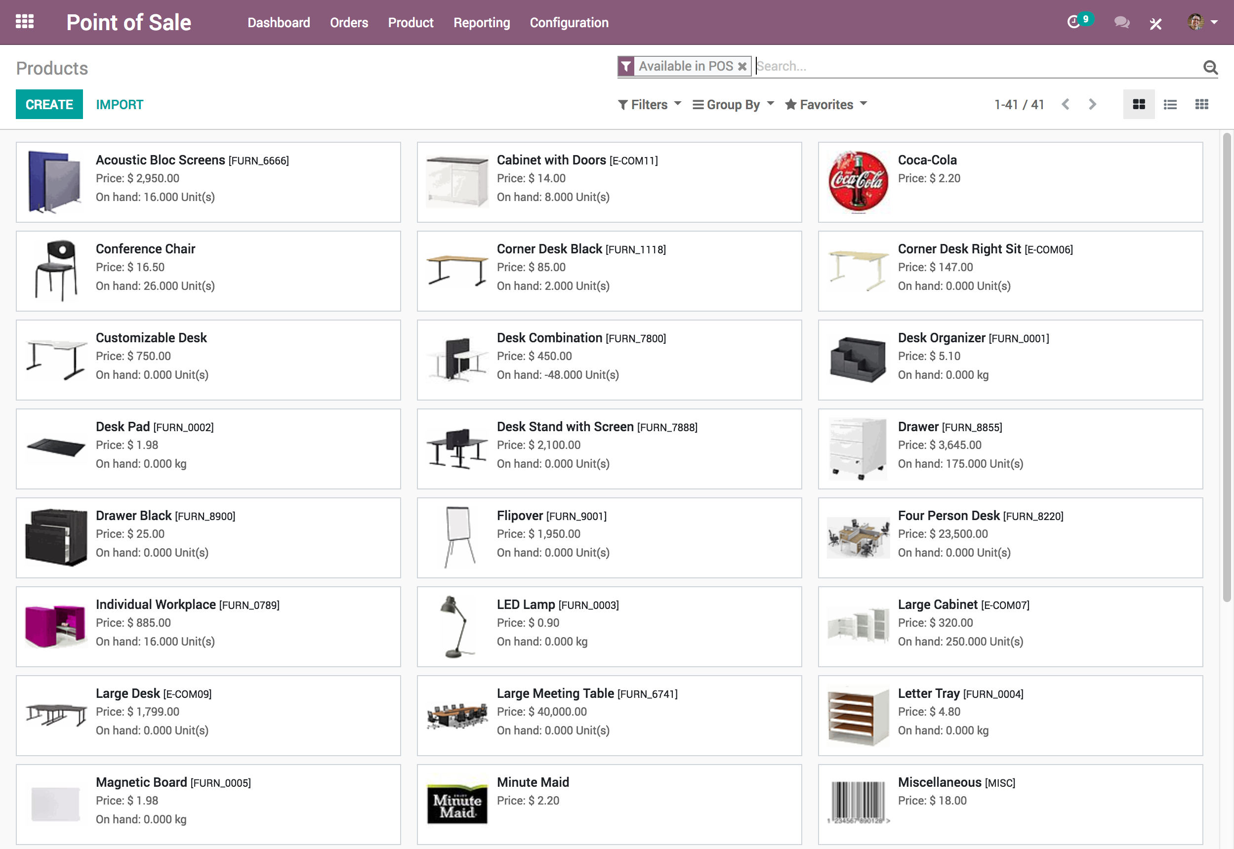 list of inventory items and quantity in Odoo