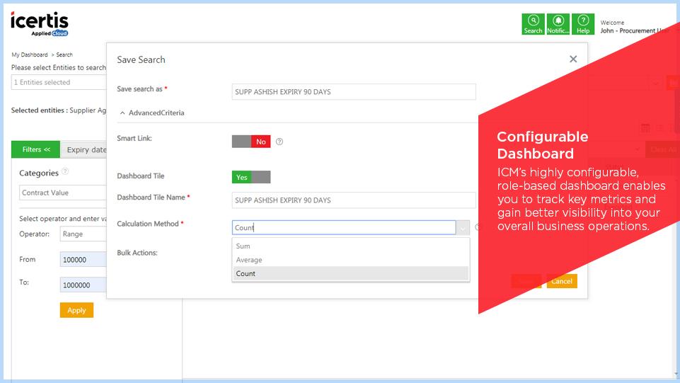 Configurable dashboard in Icertis