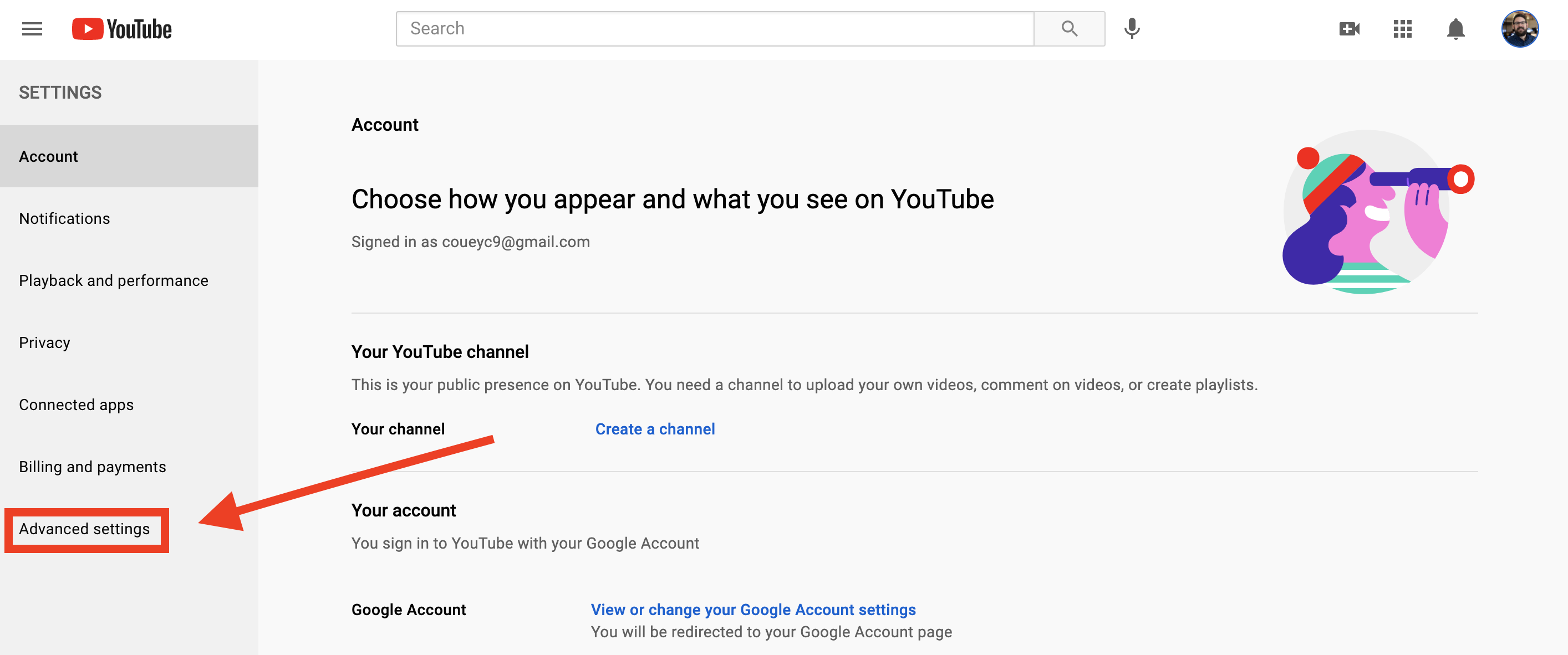 A screenshot of how to get to YouTube's advanced account settings