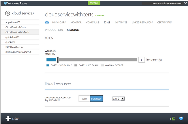 Screenshot of Microsoft Azure