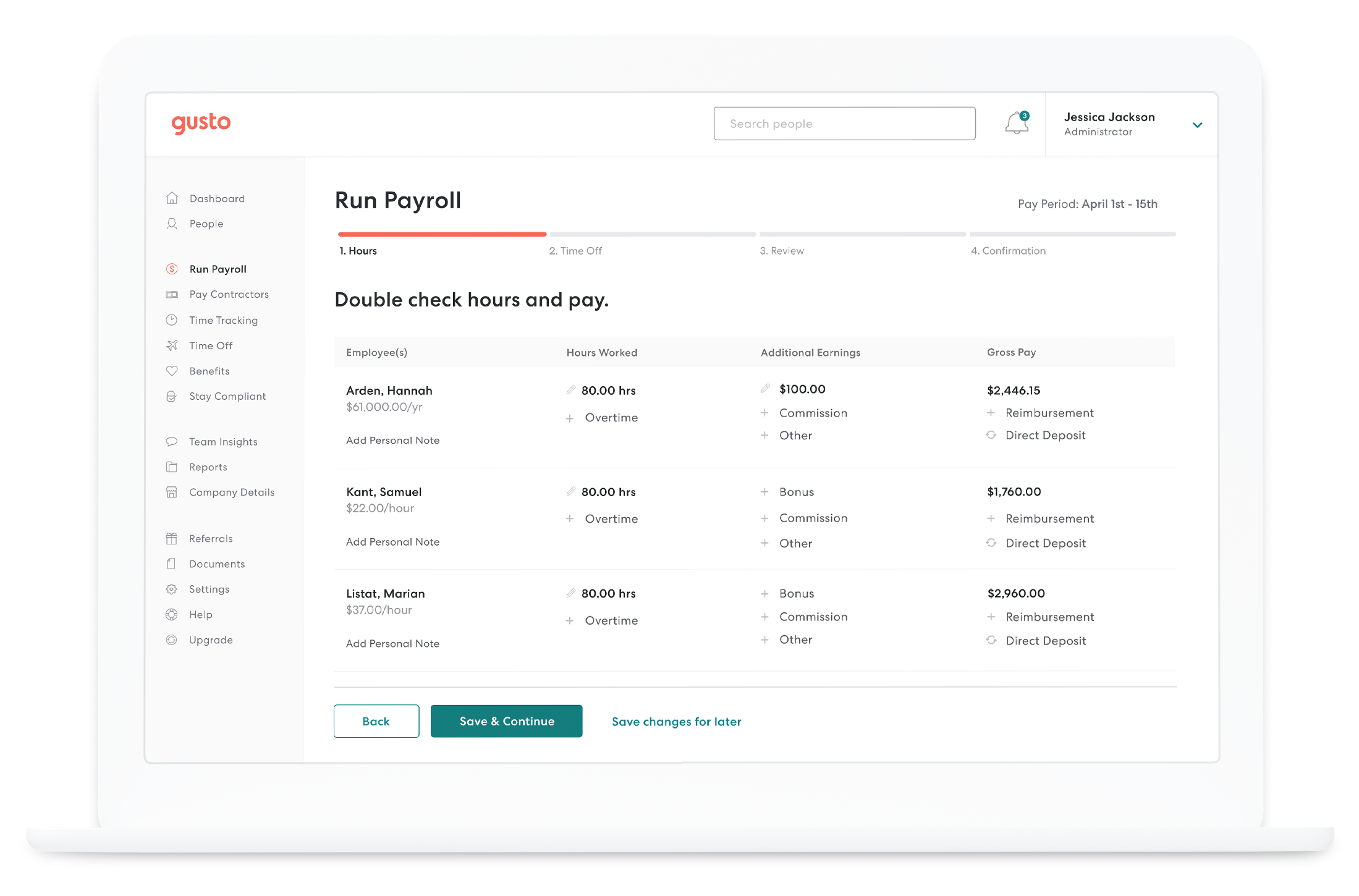 Running employee payroll in Gusto