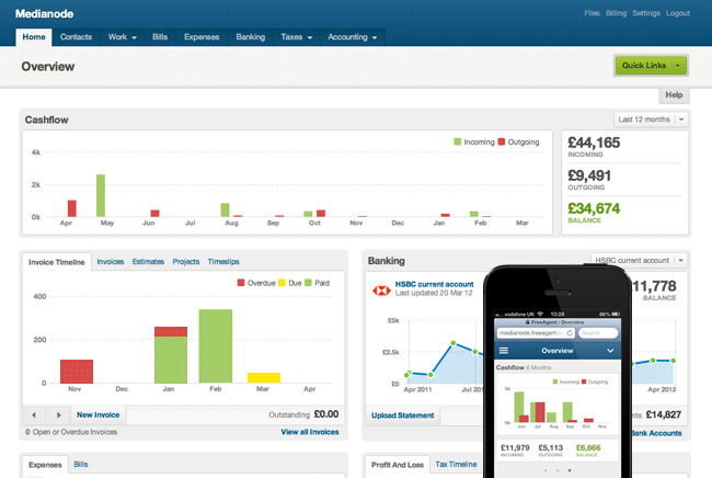 FreeAgent accounting dashboard and mobile app screenshot