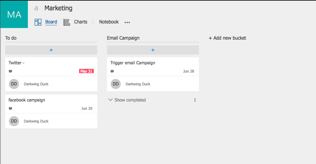 Microsoft Planner plans board screenshot