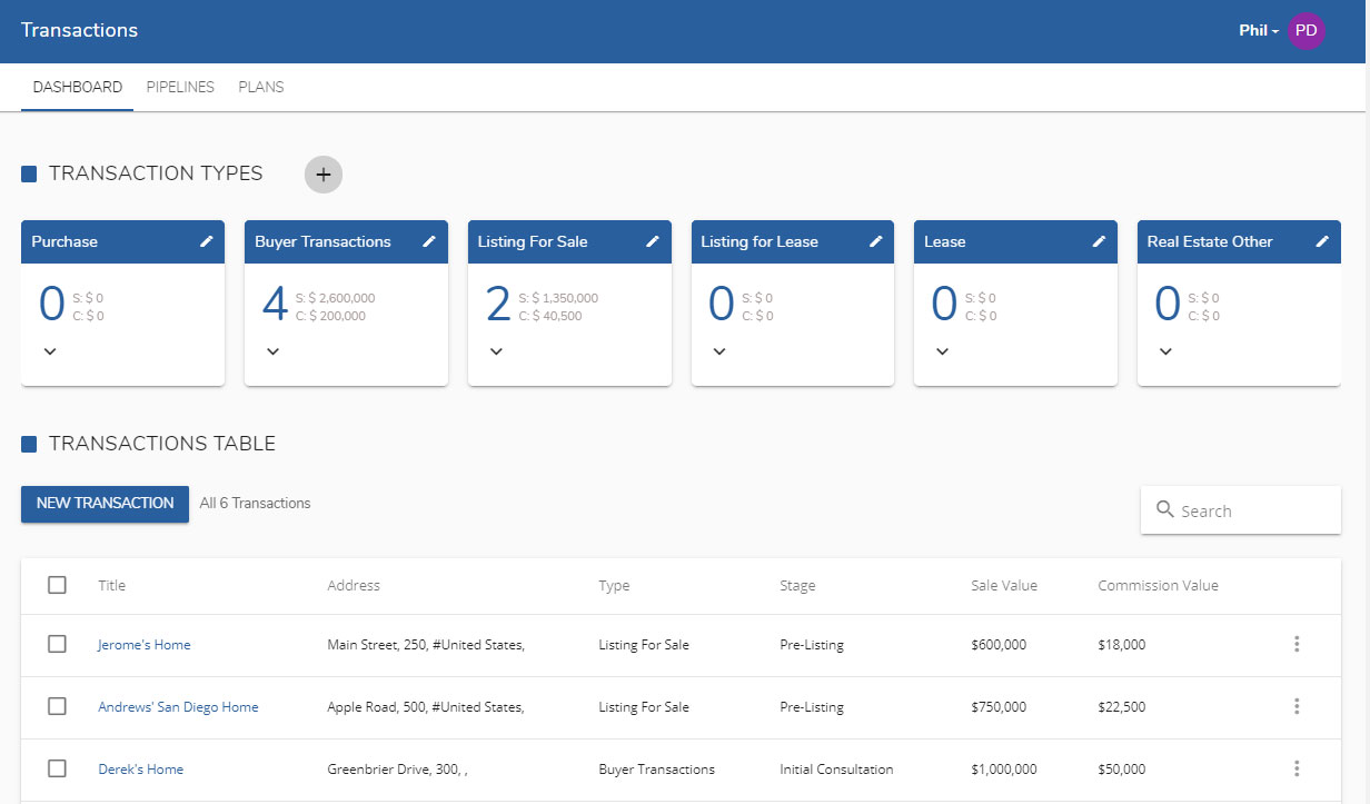 LionDesk's transaction management page