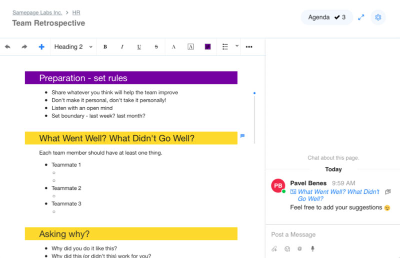 Coediting documents in Samepage