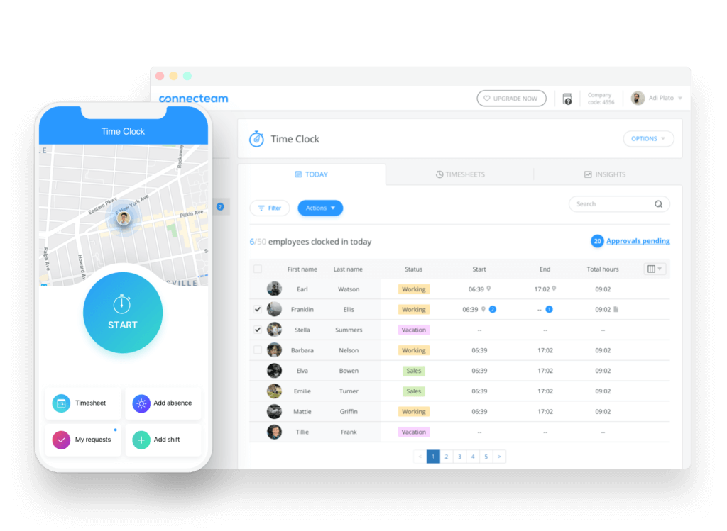 Managing a GPS-powered time clock for employees in ConnecTeam
