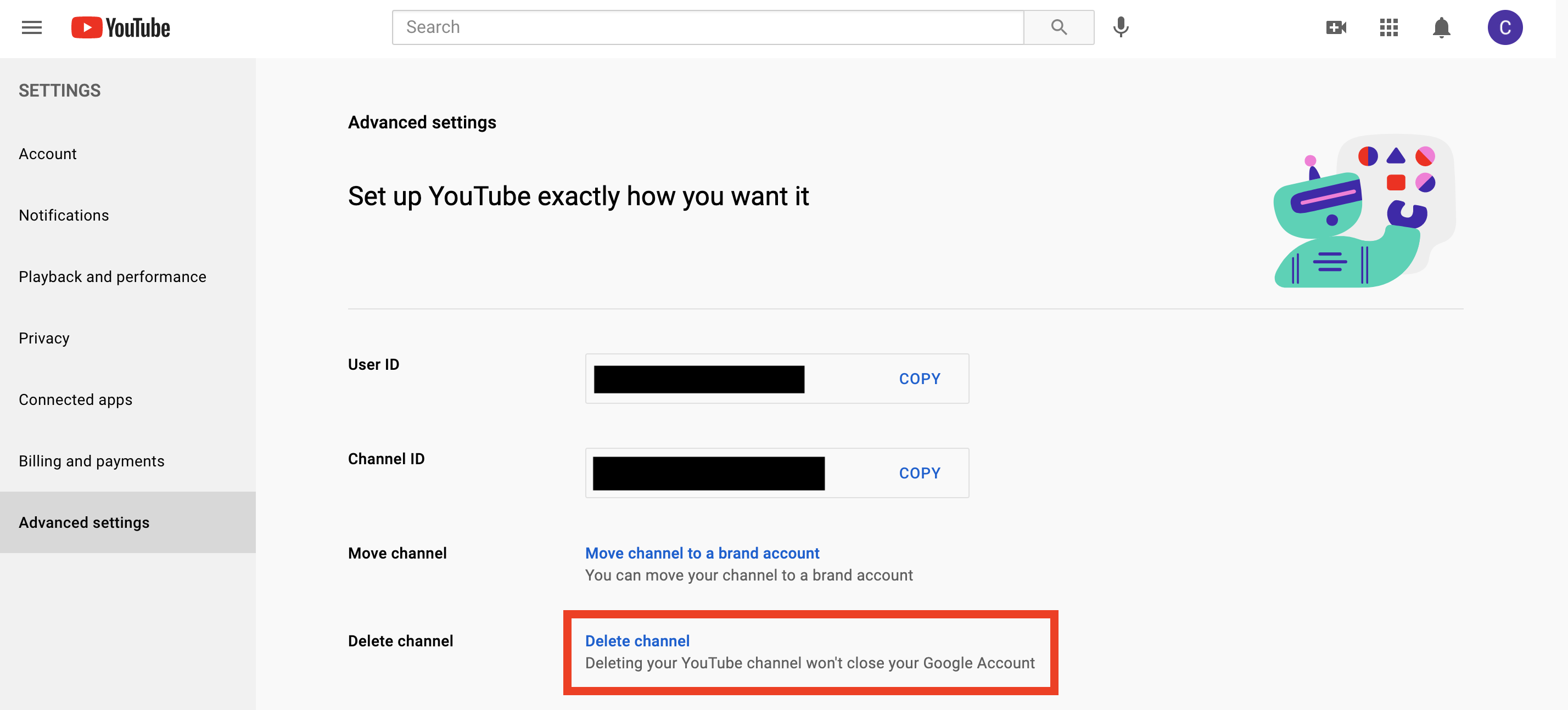 A screenshot of where to click to delete your YouTube account and channel