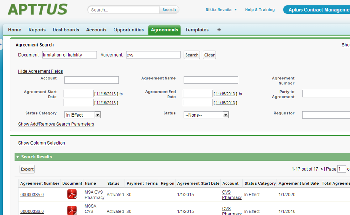 Advanced search options in Apttus