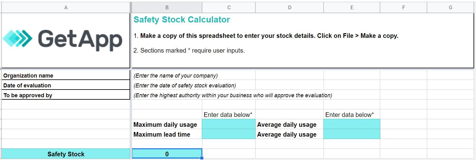 GetApp's safety stock calculator