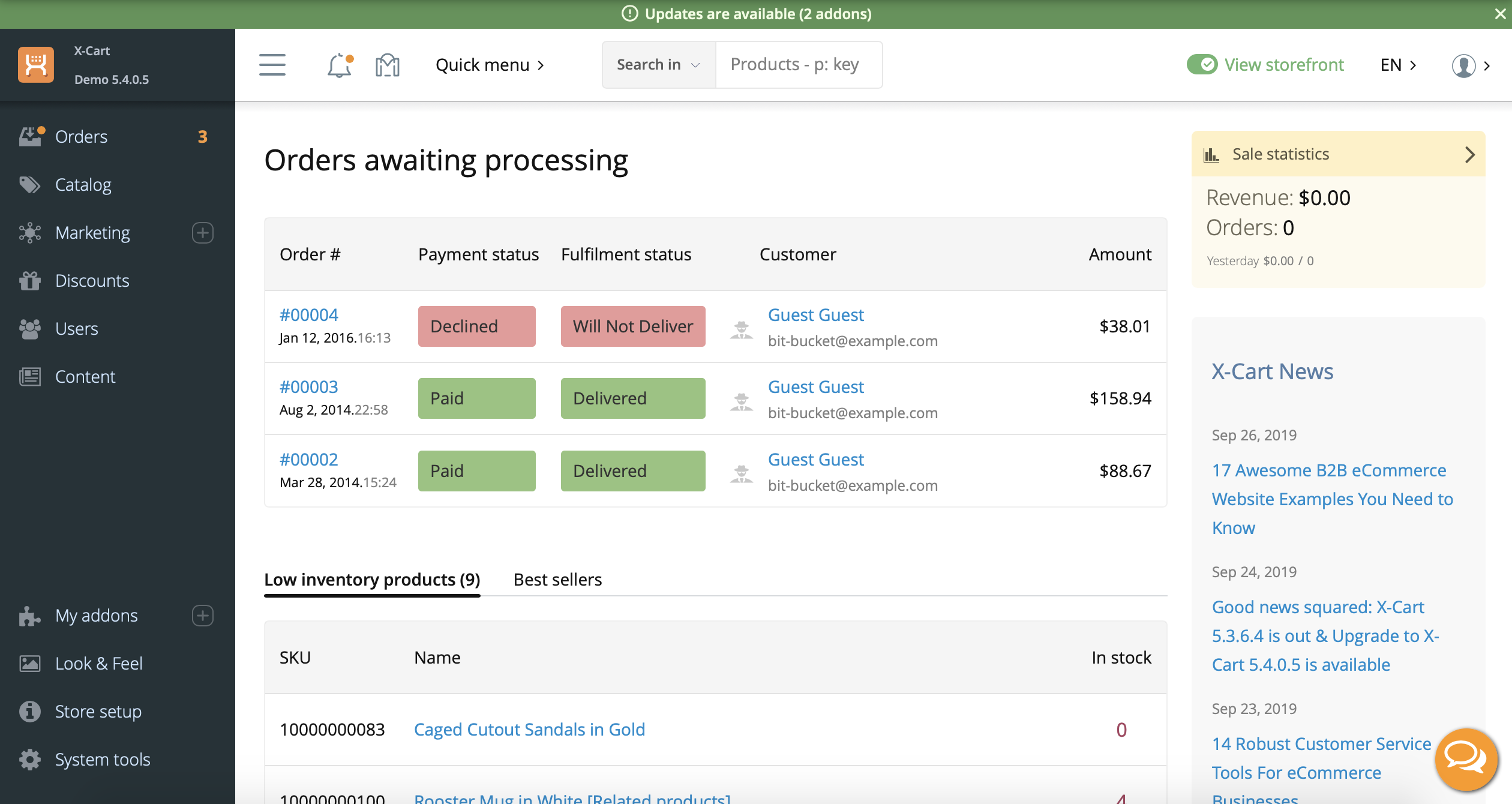 Admin dashboard in X-Cart