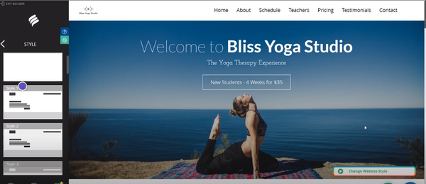 yoga studio business example of how to edit style in Bookmark website builder tool showing a woman in pigeon pose near the sea