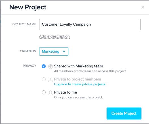 Asana new project creation screenshot