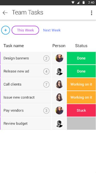 Team tasks in Monday.com for Android screenshot