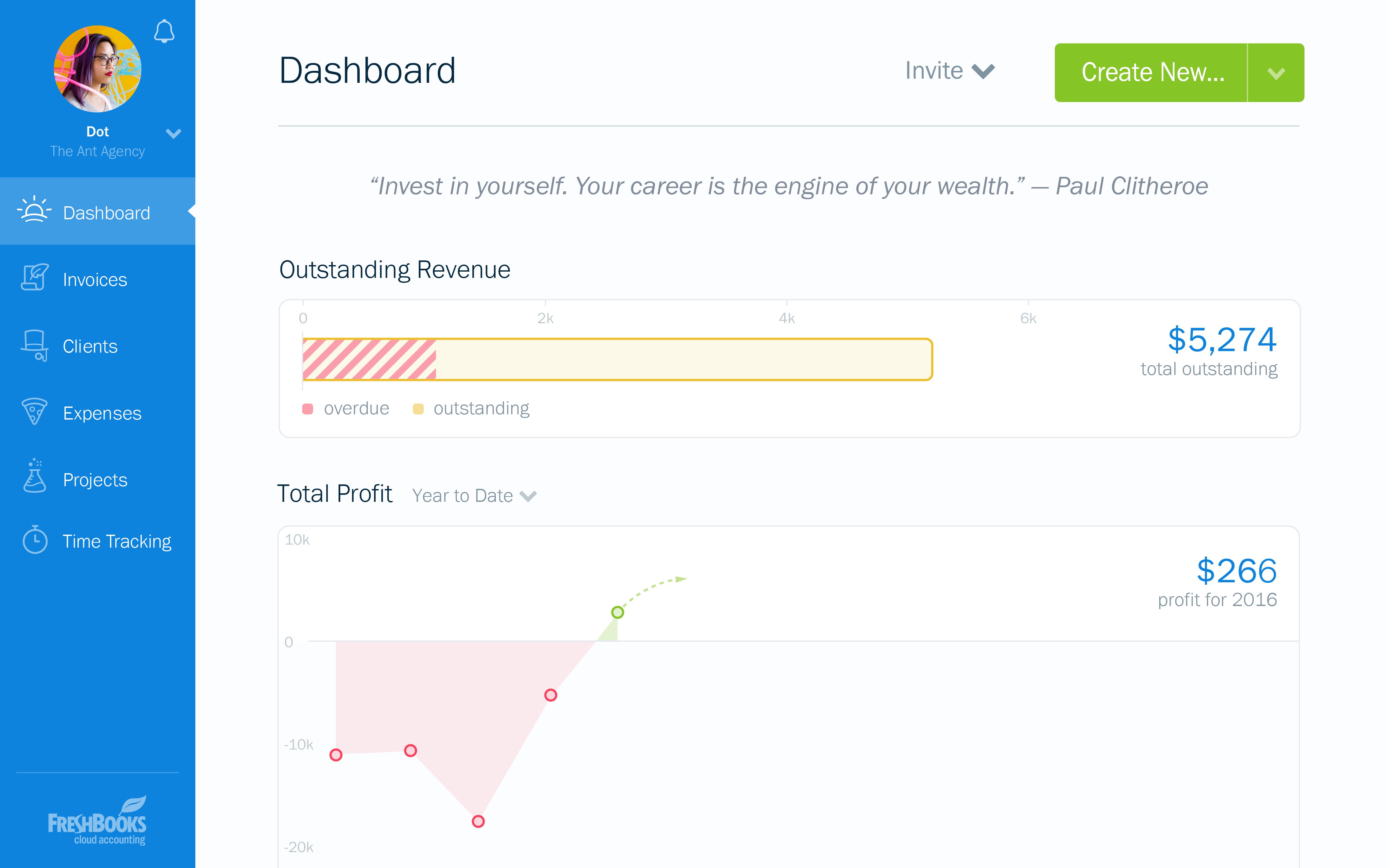 FreshBooks accounting dashboard screenshot