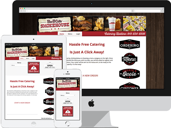 caterzen's mobile online ordering system allowing customer templates and web assets in both mobile and desktop view