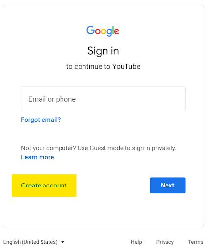 Creating a new Google account through YouTube