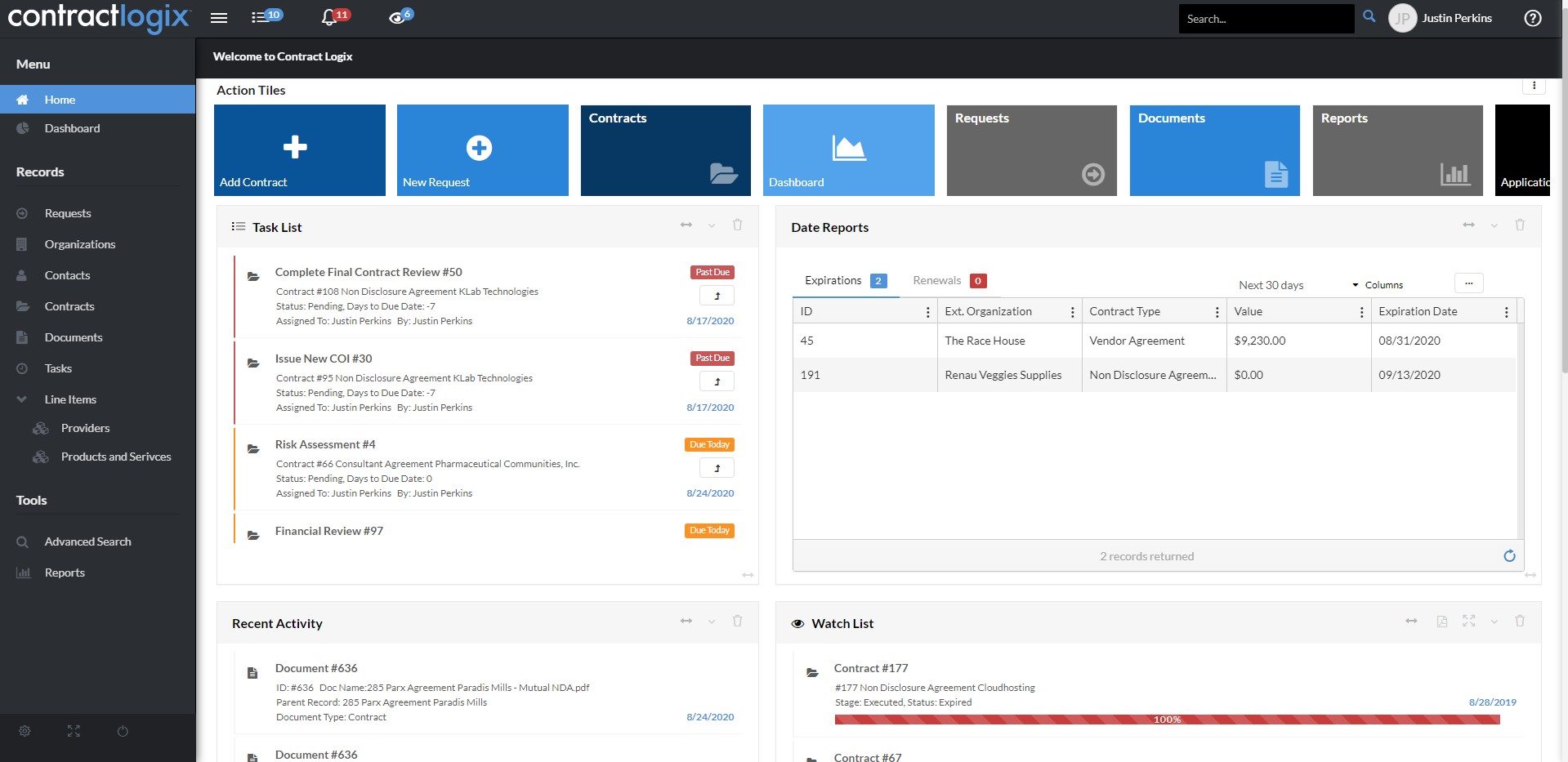 Dashboard in Contract Logix