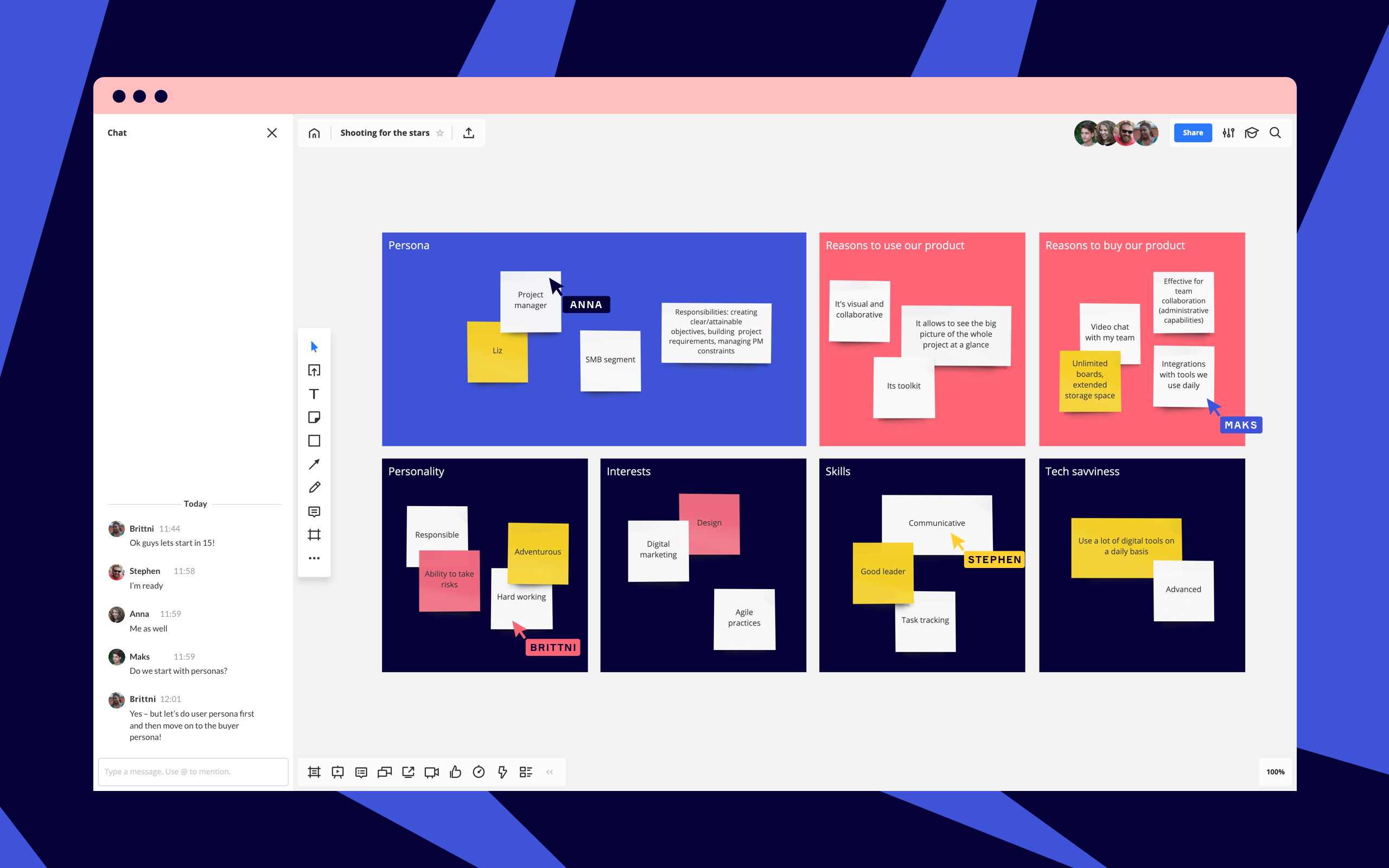 Improve communication within a team with visual brainstorming and collaboration tools like Miro