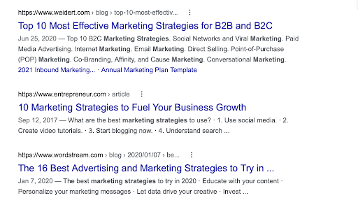 """Google search results for """"marketing strategies"""""""