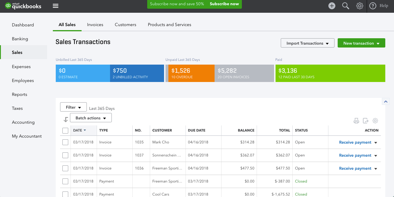 Tracking sales in Quickbooks Online