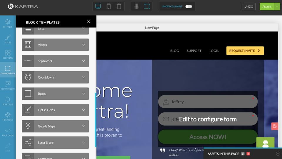 Building a website landing page in Kartra